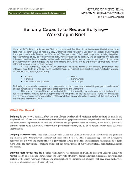 Bullying 2014 report brief cover