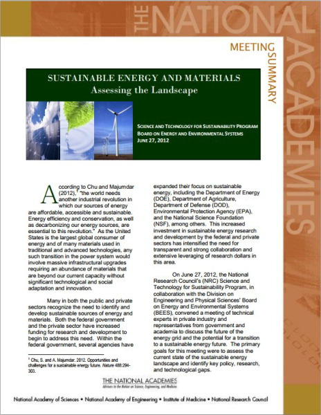 Sustainable Energy and Materials Cover