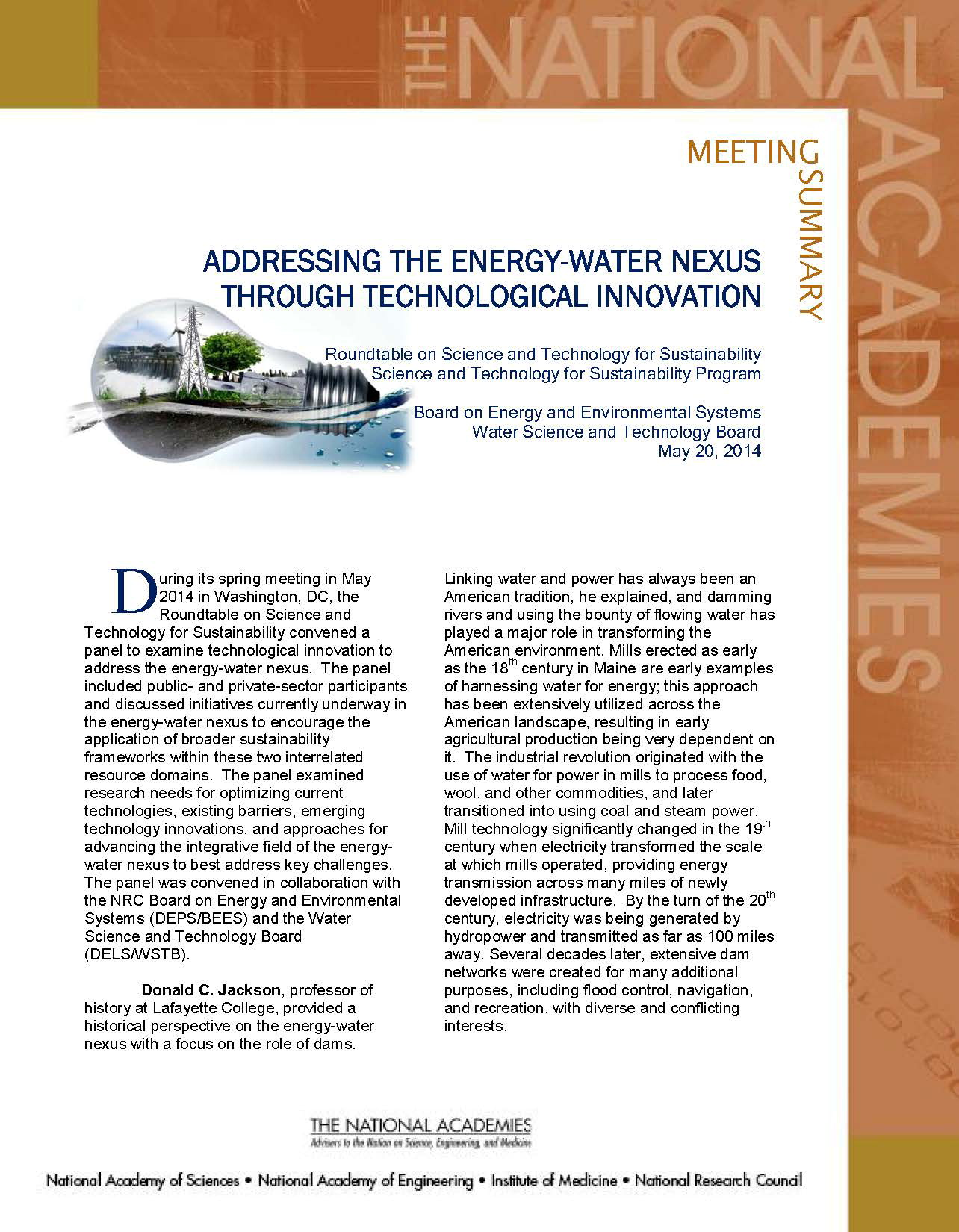 Energy Water Technological Innovation