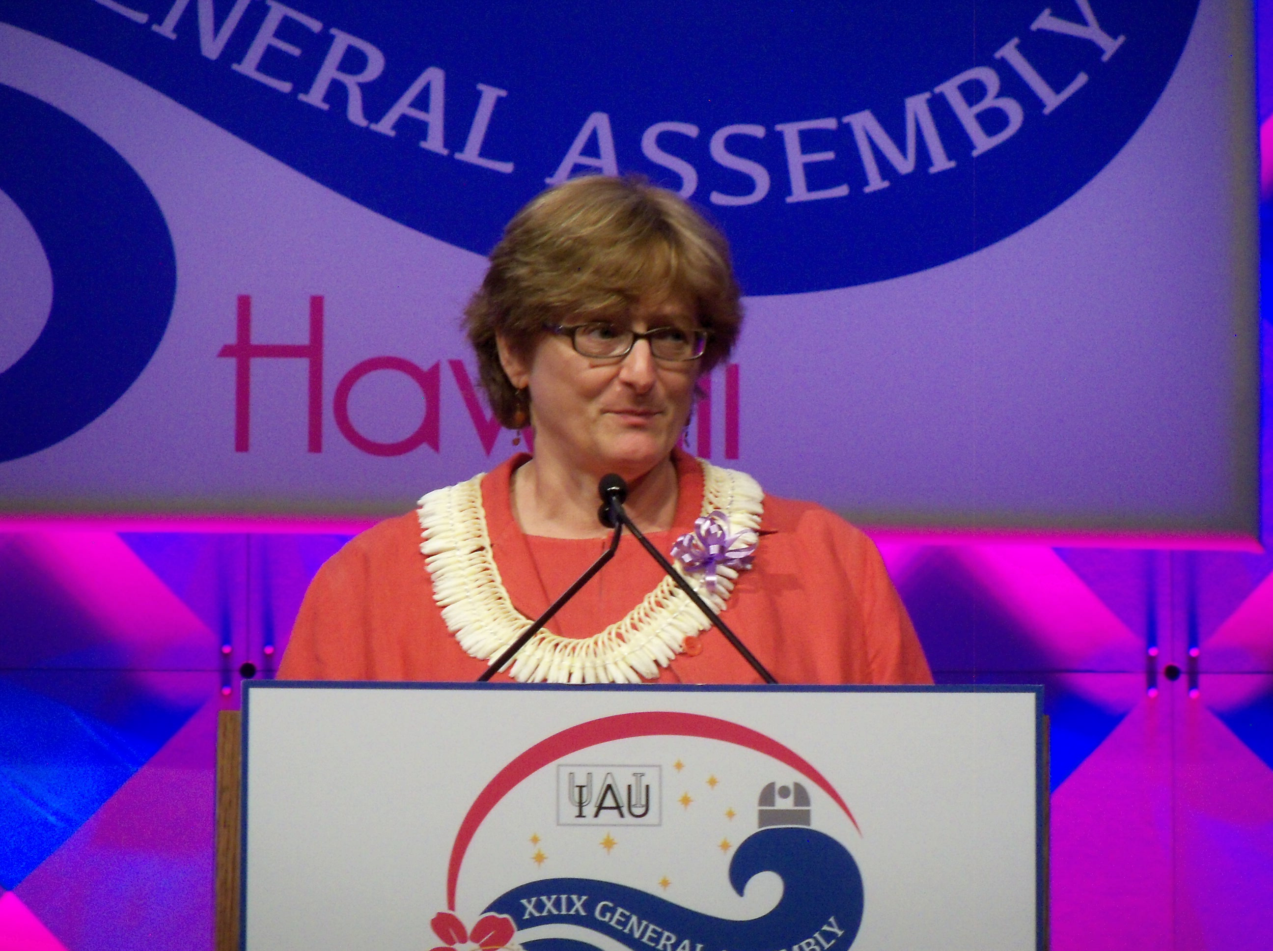 Meg Urry, AAS President, at the IAU Opening Ceremony